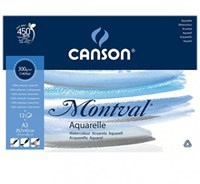 Pad Canson Cold Pressed A3 Montval Pháp 300gsm 12 Tờ (420mm x 297mm)