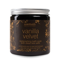 Muối tắm hương Vani Scentuals Vanilla Velvet Replenishing Bath Soak with Dead Sea Salts 250g