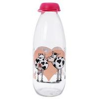 Chai đựng sữa tươi thủy tinh hình con bò Herevin 111705 1L Hồng