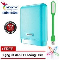 Pin sạc dự phòng 10000mAh ADATA PV150 (Xanh) + Đèn LED