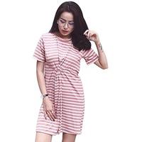 Váy Midi Dáng Ôm Xoắn Eo Họa Tiết Kẻ Sọc Nữ Soyoung DRESS 0078