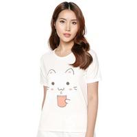 Áo Thun Nữ In Họa Tiết Mèo Trần Doanh D85