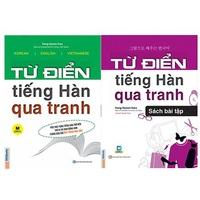 Combo Từ Điển Tiếng Hàn Qua Tranh + Sách Bài Tập