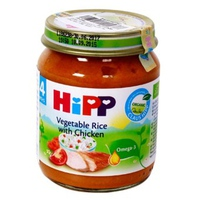 Dinh dưỡng đóng lọ HiPP 125g 4m+ thịt gà, cơm nhuyễn, rau tổng hợp