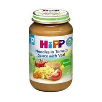 Dinh dưỡng đóng lọ HiPP 220g 12m+ thịt bê, mì sợi, cà chua