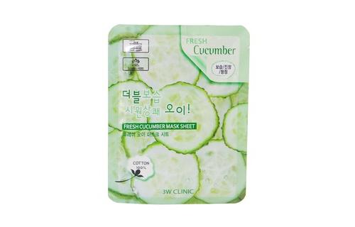 Image result for Bộ 10 gói mặt nạ dưỡng ẩm da 3W Clinic Fresh Cucumber Jelly Mask Sheet chiết xuất dưa leo 23ml X 10