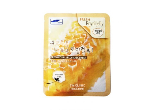 Image result for Bộ 10 Gói Mặt Nạ Chiết Xuất Sữa Ong Chúa 3W Clinic Fresh Royal Jelly Mask Sheet 23ml X 10